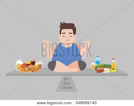 Big Fat Man Consider To Choose Between Junk Food Or Good Food, Diet Cartoon, Lose Weight, Healthcare