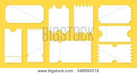 Blank Tickets Design For Airplane, Train, Bus, Cinema, Party, Circus, Festival Or Concert. Empty Tic