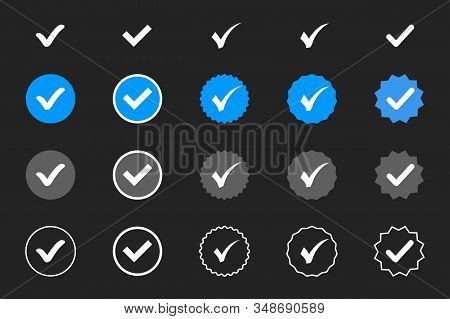 Profile Verification. Verified Badge. Set Of Verified Icon With Social Media Verified Badge Style. A