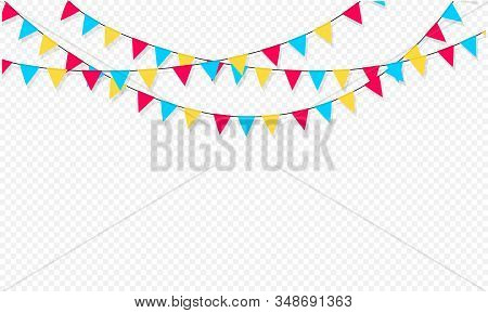 Set Of Flag Garlands. Carnival Garland With Flags. Decorative Colorful Party Pennants For Birthday C
