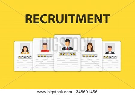 Human Resource Icon. Recruitment Icon. Job Search And Human Resource, Recruitment Concept. We Are Hi