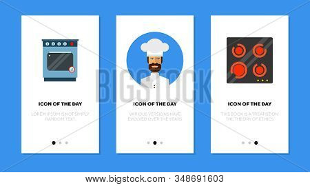 Professional Culinary Thin Flat Icon Set. Chef, Restaurant, Stove Isolated Vector Sign Pack. Culinar