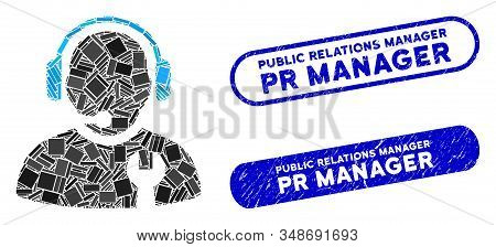 Mosaic Service Operator And Grunge Stamp Seals With Public Relations Manager Pr Manager Caption. Mos