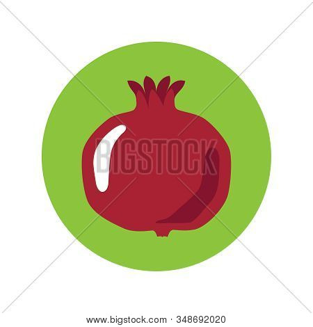 Pomegranate Graphic Icon. Garnet Sign In The Circle Isolated On White Background. Symbol Pomegranate