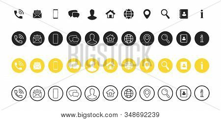Popular Contact Information Icons Set - Contact Us. Web Icon. Business Card Contact Information Icon