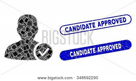 Mosaic User Valid And Rubber Stamp Seals With Candidate Approved Phrase. Mosaic Vector User Valid Is