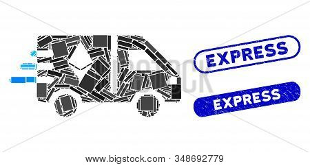 Collage Express Ethereum Delivery Car And Grunge Stamp Seals With Express Phrase. Mosaic Vector Expr