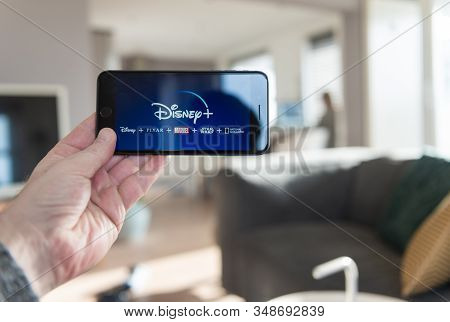 Amsterdam, The Netherlands, 02/03/2020, Disney+ Startscreen On  Mobile Phone. Disney+ Online Video,