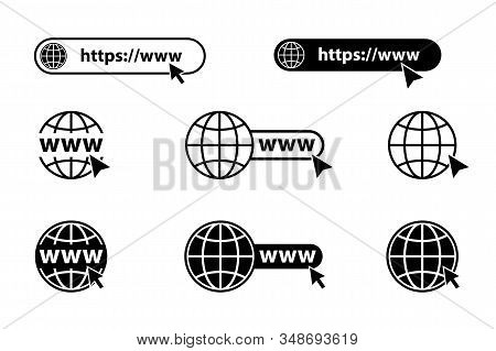 Internet. Www Icon. Web Site Icon. Go To Website. Set Of Website Or Internet Vector Icon For Apps An