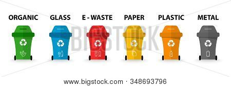 Recycle Bins With Recycle Symbol. Different Colored Trash. Organic, Batteries, Metal, Plastic, Paper