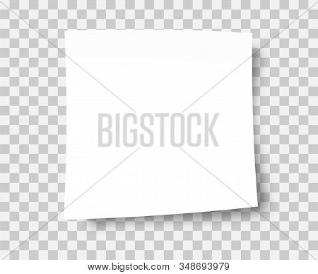 White Sticky Note With Post Note Sticker Isolated On Transparent Background. Sticky Note Paper. Fron
