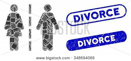 Mosaic Divorce Line And Distressed Stamp Seals With Divorce Text. Mosaic Vector Divorce Line Is Form