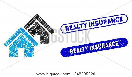 Mosaic Realty And Grunge Stamp Seals With Realty Insurance Text. Mosaic Vector Realty Is Designed Wi