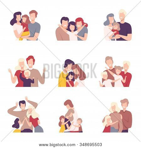 Happy Loving Family. Smiling Parents And Their Kids Embracing Each Other Vector Illustrations Set