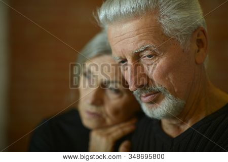 Portrait Of Sad Senior Couple Posing At Home