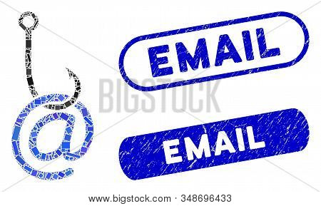 Mosaic Email Phishing Malware And Corroded Stamp Seals With Email Caption. Mosaic Vector Email Phish