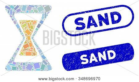 Mosaic Sand Clock And Distressed Stamp Watermarks With Sand Caption. Mosaic Vector Sand Clock Is Com
