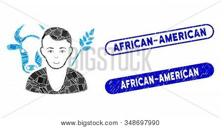 Mosaic Farmer And Rubber Stamp Seals With African-american Text. Mosaic Vector Farmer Is Formed With