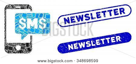 Mosaic Phone Sms And Rubber Stamp Watermarks With Newsletter Text. Mosaic Vector Phone Sms Is Compos