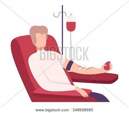 Male Donor Giving Blood In Medical Hospital, Volunteer Character Sitting In Medical Chair, Blood Don
