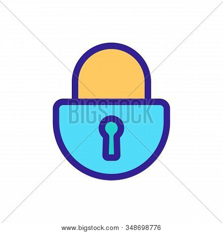 Lock For The Door Icon Vector. A Thin Line Sign. Isolated Contour Symbol Illustration