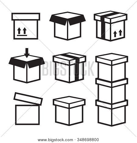 Line Box Vector Icons. Box Icon, Package Box, Container Linear Box, Packaging And Delivery
