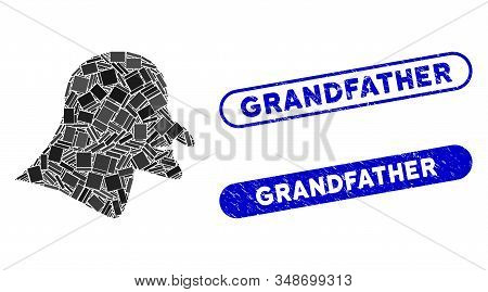 Mosaic Witch Head And Grunge Stamp Watermarks With Grandfather Text. Mosaic Vector Witch Head Is Cre
