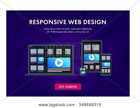 Responsive Website Design On Electronic Devices - Laptop, Tablet Pc, Smartphone And Smart Watch. Web