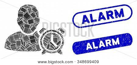 Collage User Alarm Clock And Grunge Stamp Seals With Alarm Text. Mosaic Vector User Alarm Clock Is C