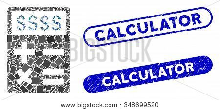 Collage Business Calculator And Grunge Stamp Seals With Calculator Phrase. Mosaic Vector Business Ca