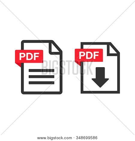 Pdf Download Icon. File Download Icon. Document Text, Symbol Web Format Information