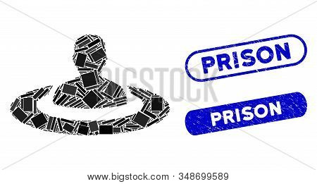 Mosaic Prison And Rubber Stamp Seals With Prison Phrase. Mosaic Vector Prison Is Composed With Scatt