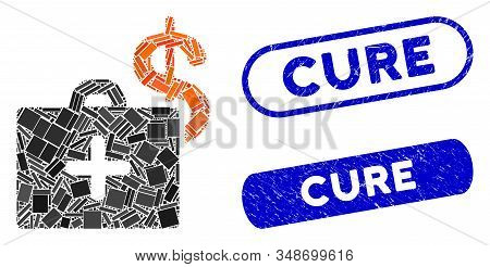 Mosaic Medical Fund Case And Grunge Stamp Seals With Cure Caption. Mosaic Vector Medical Fund Case I