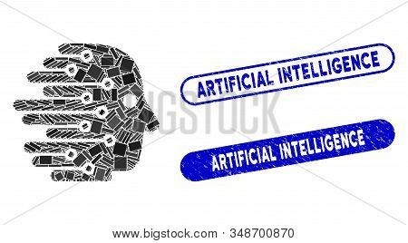 Mosaic Artificial Intelligence And Grunge Stamp Seals With Artificial Intelligence Text. Mosaic Vect