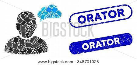 Mosaic User Thinking Cloud And Distressed Stamp Watermarks With Orator Caption. Mosaic Vector User T