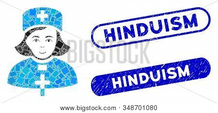 Mosaic Church Female Doctor And Rubber Stamp Watermarks With Hinduism Caption. Mosaic Vector Church