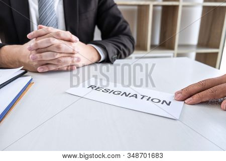 Employee Sending Resignation Letter To Boss Employer Consider In Order To Contract For Quit Or Layof