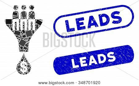 Mosaic Sales Filter And Grunge Stamp Seals With Leads Caption. Mosaic Vector Sales Filter Is Created