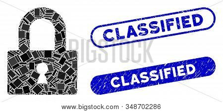 Mosaic Lock And Distressed Stamp Watermarks With Classified Text. Mosaic Vector Lock Is Created With