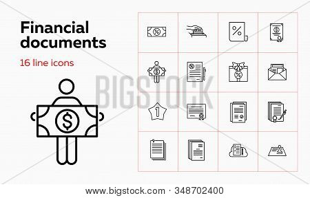 Financial Documents Line Icon Set. Paper, Certificate, Loan Agreement. Business Concept. Can Be Used