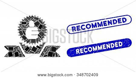 Mosaic Recommended Label And Distressed Stamp Watermarks With Recommended Phrase. Mosaic Vector Reco