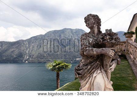 9 July 2019, Stone Statue Of The Woman In The Park Of Villa Del Balbianello, Lenno, Lombardia, Italy