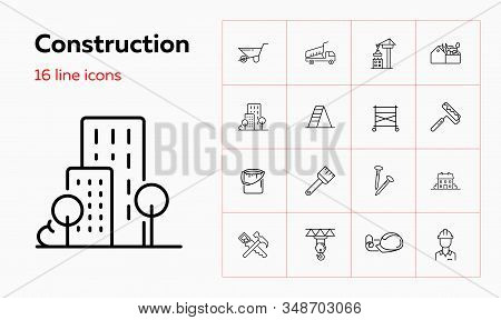 Construction Site Line Icon Set. Cart, Crane, Saw, Worker. Construction Concept. Can Be Used For Top