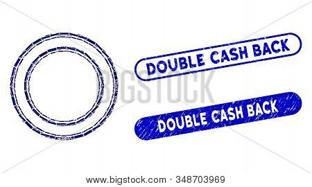 Mosaic Double Circle Frame And Rubber Stamp Seals With Double Cash Back Text. Mosaic Vector Double C