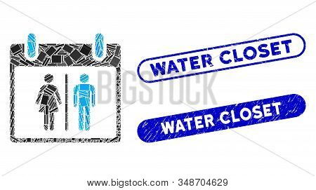 Mosaic Water Closet Calendar Day And Rubber Stamp Watermarks With Water Closet Text. Mosaic Vector W