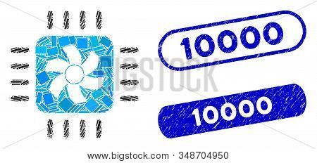 Mosaic Cpu Cooler And Grunge Stamp Watermarks With 10000 Phrase. Mosaic Vector Cpu Cooler Is Formed