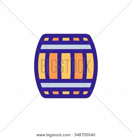 Wooden Barrel For Wine Icon Vector. A Thin Line Sign. Isolated Contour Symbol Illustration