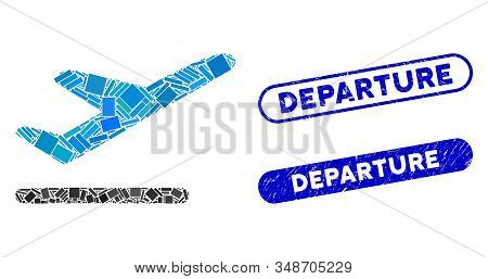 Mosaic Airplane Departure And Corroded Stamp Seals With Departure Text. Mosaic Vector Airplane Depar