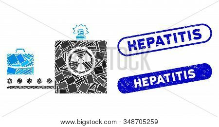 Mosaic Baggage Screening And Distressed Stamp Seals With Hepatitis Phrase. Mosaic Vector Baggage Scr