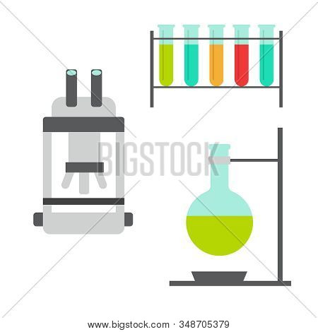 Biology Flat Icons. Biology Laboratory Workspace In Flat Style